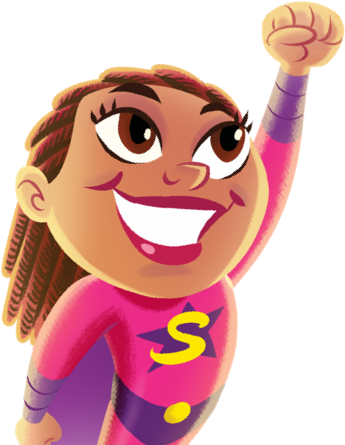Illustration of a smiling superhero girl cheering