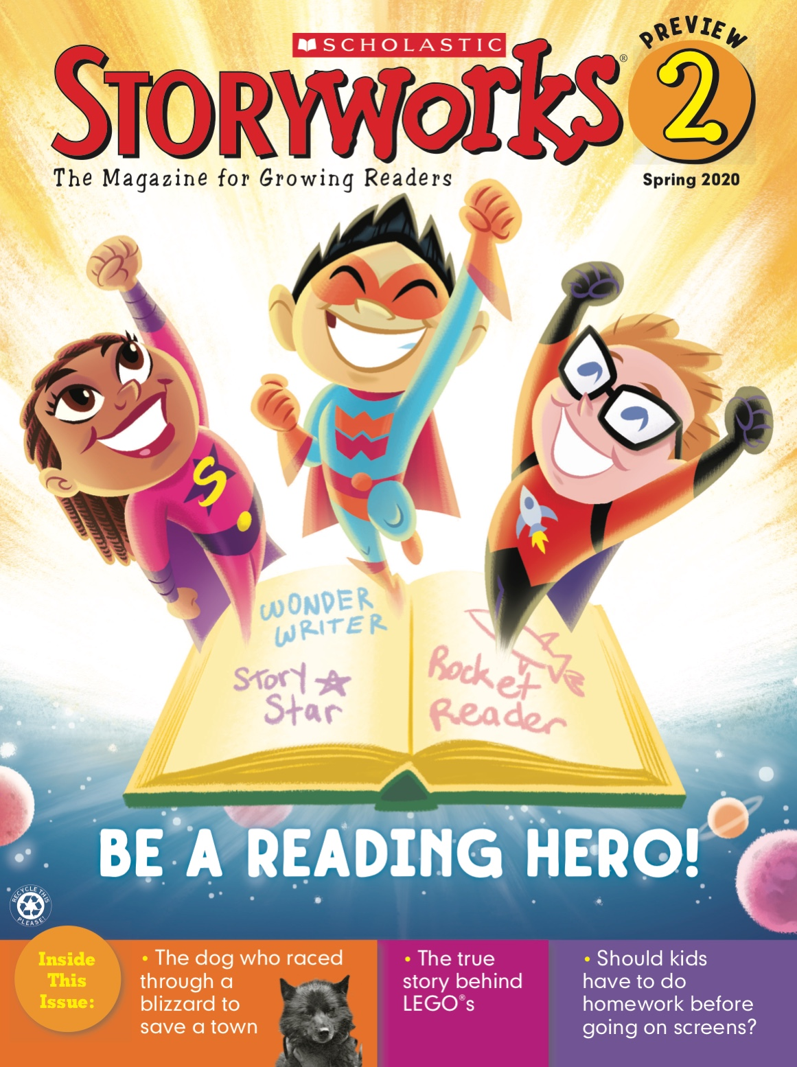 Storyworks 2 magazine cover with 3 reading heroes bursting out of a book