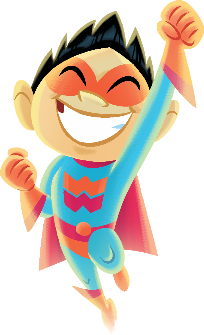 Illustration of a smiling superhero boy cheering