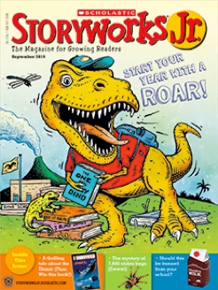 Storyworks 2 magazine cover of a dinosaur going to school with a book