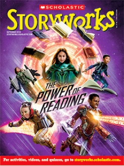Storyworks magazine cover of 5 children who use books to get special powers